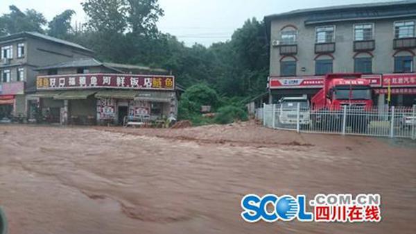 四川雅安强降雨致山体滑坡 积水严重开车像开船(图)