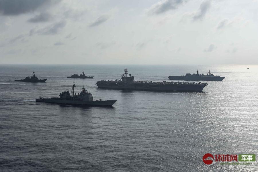 """日本最大军舰跟着美军航母""""巡航""""南海"""