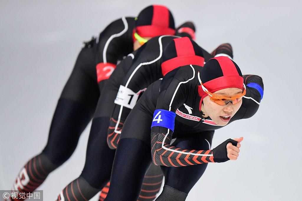 速滑女子团体追逐赛 中国女将团结奋战获第5