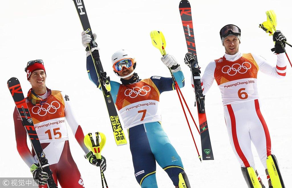 高山滑雪男子回转瑞典夺金 挑战极限速度