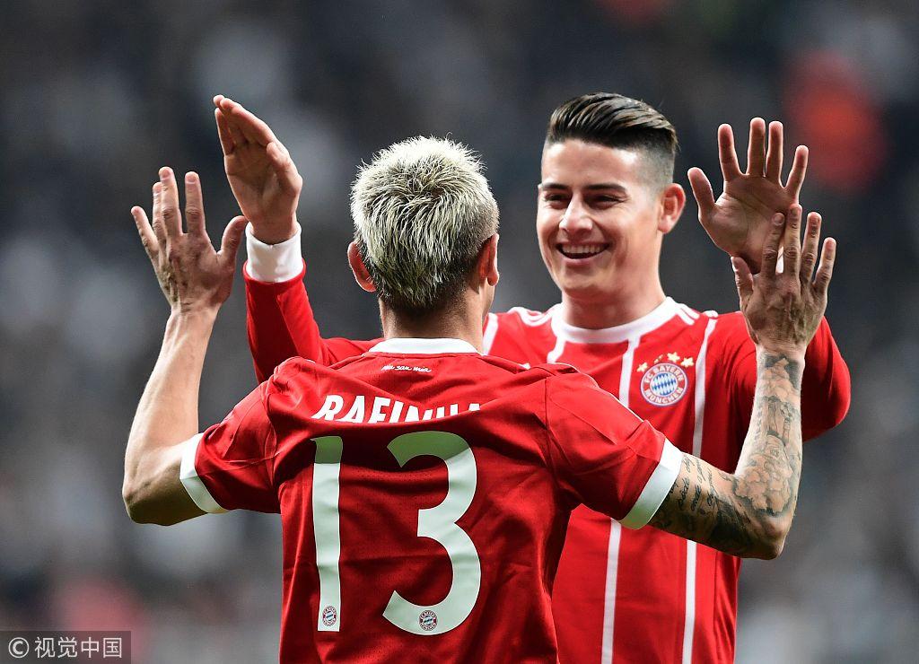 欧冠1/8决赛:贝西克塔斯1-3拜仁