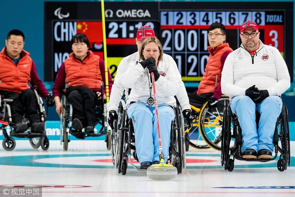 中国轮椅冰壶6:5险胜挪威 夺冬残奥中国首金