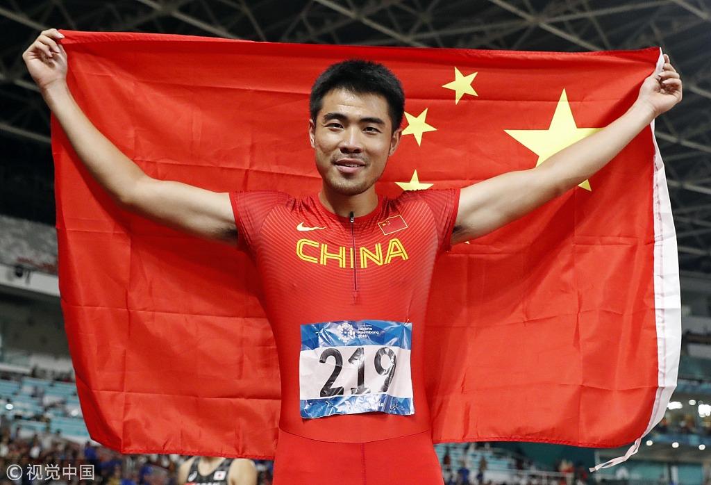 110米栏谢文骏卫冕 披国旗手指天庆祝超霸气