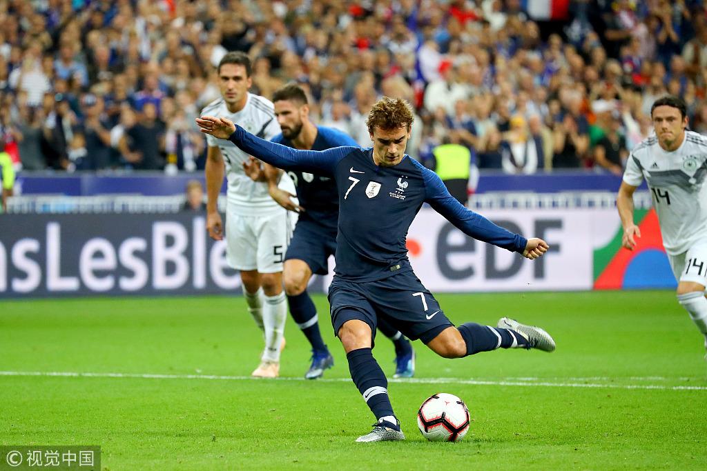 法国2-1逆转德国 格列兹曼梅开二度
