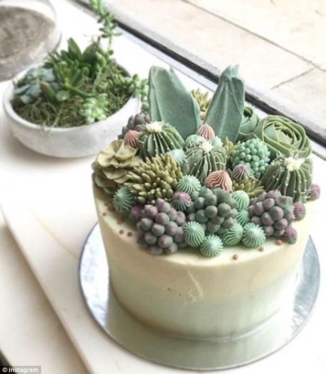 """纽约烘焙师心灵手巧制作百变""""沙漠植物蛋糕"""""""