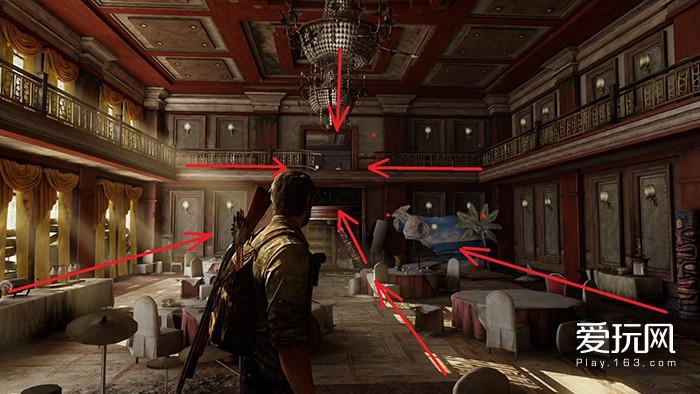 15.《美国末日》的这个场景中,每一部分都在暗示玩家出口的位置
