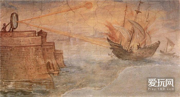 图十八,阿基米德曾用三百面铜镜击退罗马战舰