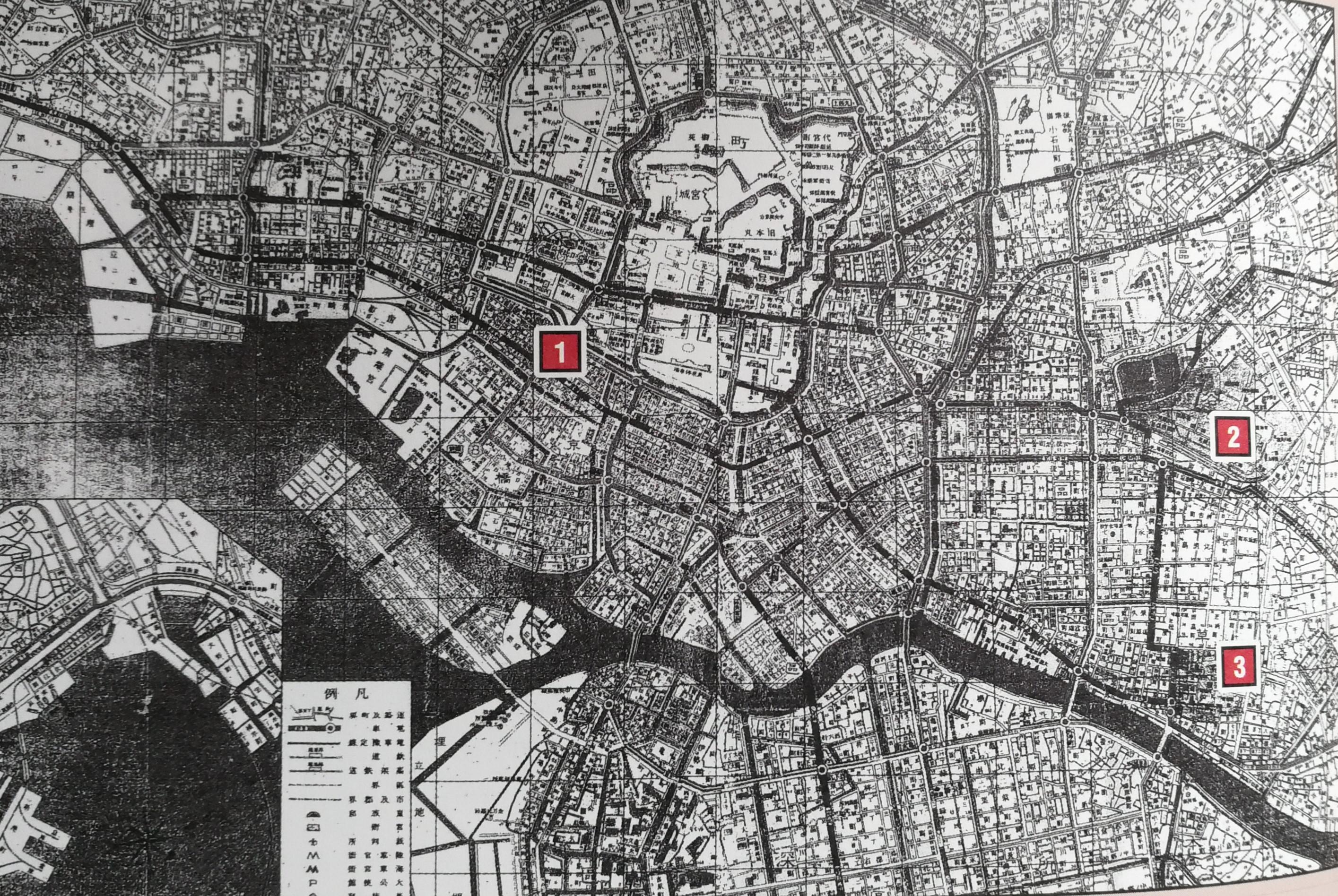 """04:大正时期的东京地图,左侧标注""""1""""的地方就是帝国华击团所在地银座四目丁"""