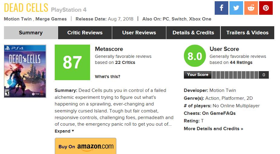 06:综合评分网站Metacritic,在游戏评分下会给出零售商的购买链接,以此作为商业模式